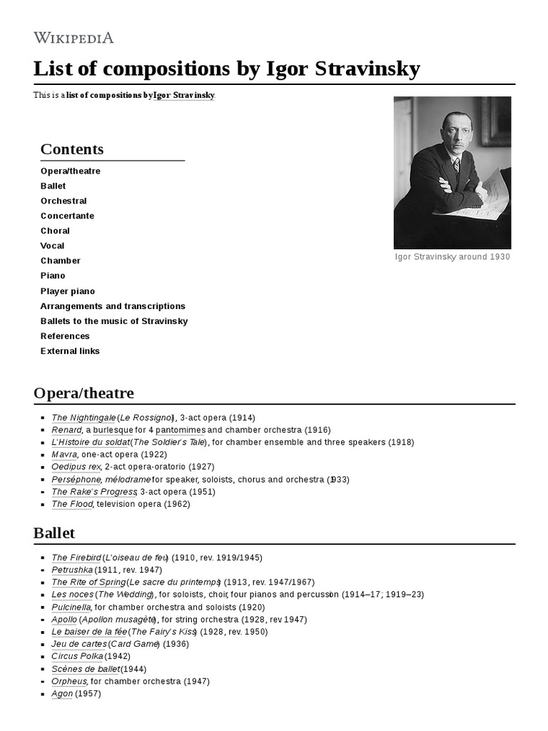 List Of Compositions By Igor Stravinsky Classical Music