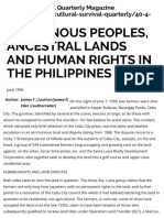 Indigenous Peoples, Ancestral Lands and Human Rights in the Philippines | Cultural Survival
