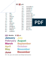 Dates (Ordinal Numerals) and Months