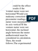 What Would Be the Effect on the Results if the Venturi Meter Were Not Horizontal