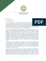 University of Notre Dame Letter