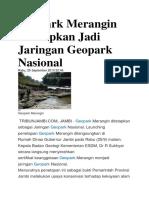 Geopark Merangin Ditetapkan Jadi Jaringan Geopark Nasional