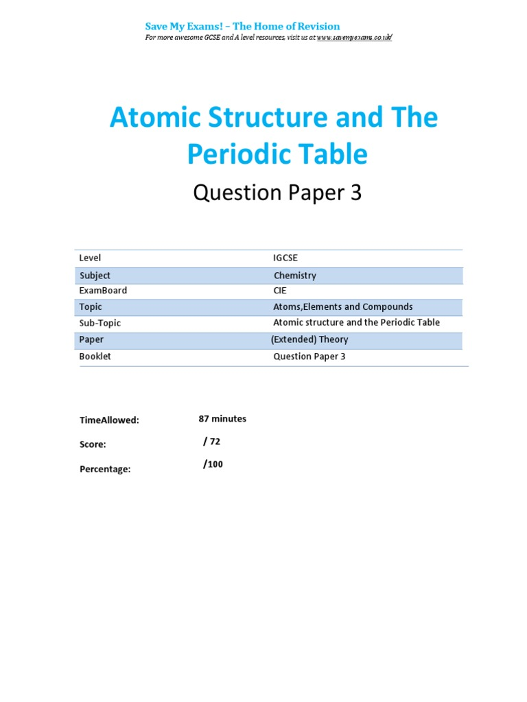 Atomic Structure And The Periodic Table Qp Igcse Cie Chemistry