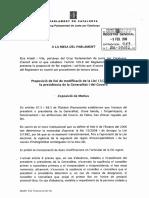 Proposición de ley de modificación de la ley de Presidencia del Parlament