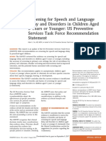 Screening for Speech and Language Delay and Disorders in Children Aged 5 Years or Younger
