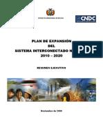 Resumen Ejecutivo Plan de Expansion 2010 -2020 (Noviembre 2009)