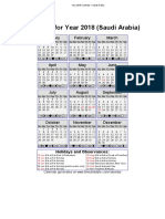 2018 calendar saudi arabia