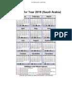 2018 Calendar – Saudi Arabia
