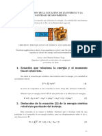 Comprobación de La Ecuación de La Energía y La Cantidad de Movimiento en mecánica relativista