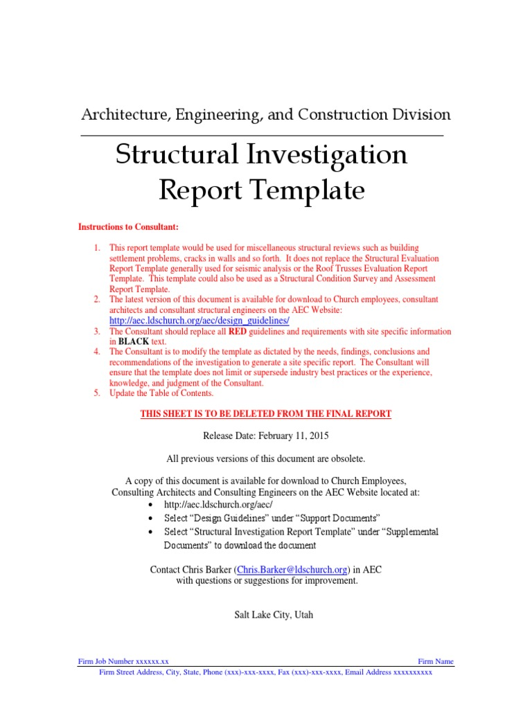 Structural Investigation Reportcx Architect The Church Of