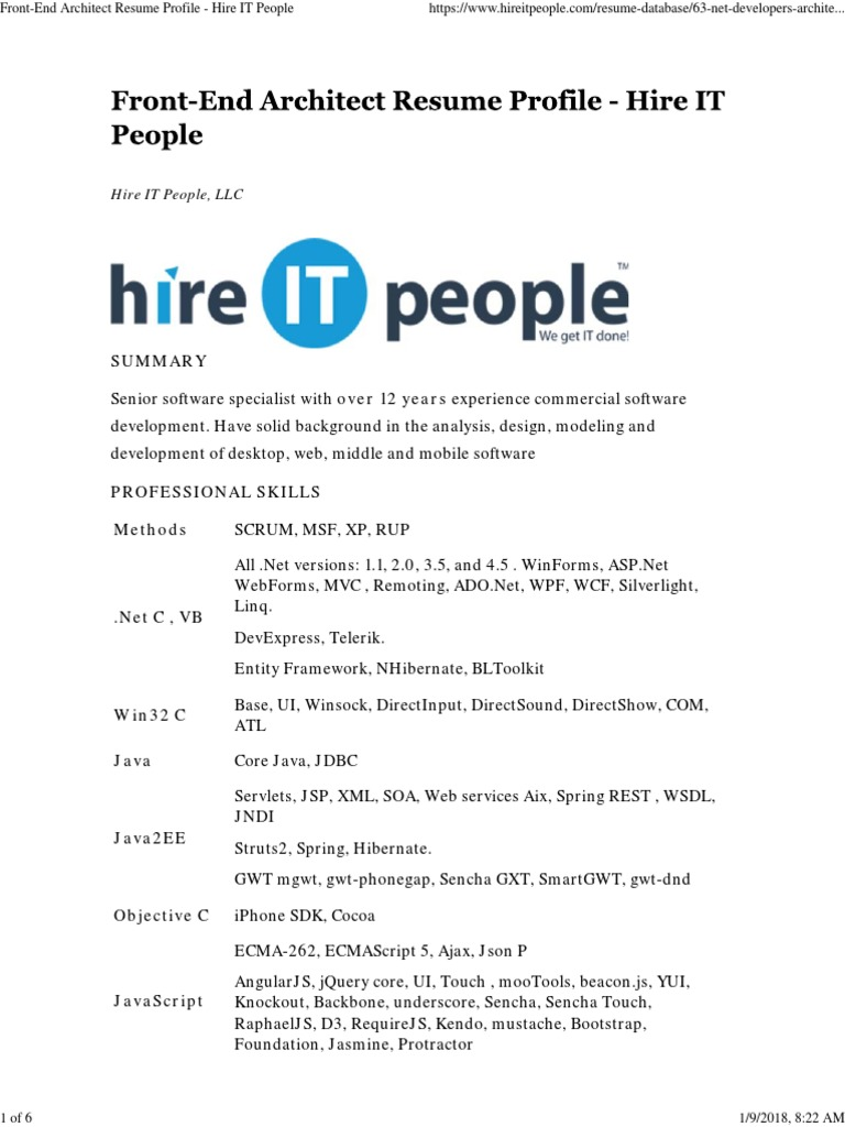 Front End Architect Resume Profile Hire It People Angular Js