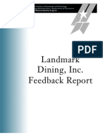 2005 Landmark Dining Feedback Report
