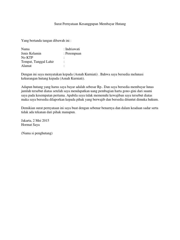 Contoh Surat Pernyataan Bayar Hutang Simak Gambar Berikut