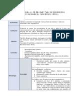 Programa de Trabajo Para El Desarrollo y Estimulacion de La Conciencia Lexica.