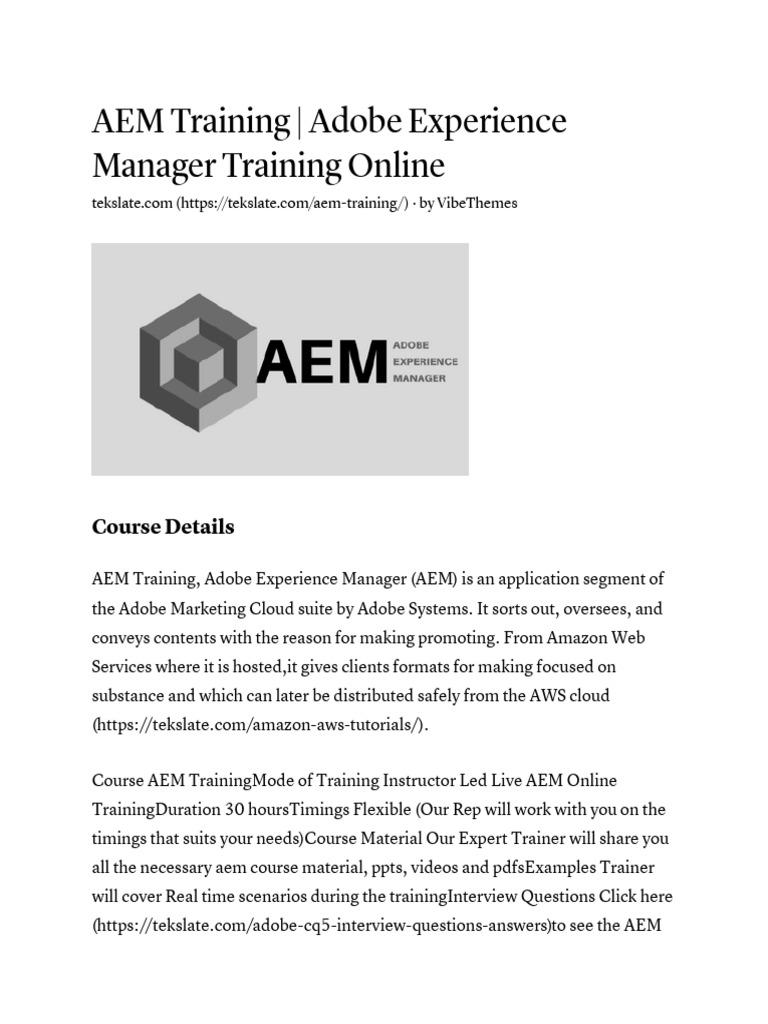 Aem Training Adobe Experience Manager Training Online