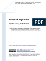 Agustin Berti y Javier Blanco (2013). Objetos Digitaleso