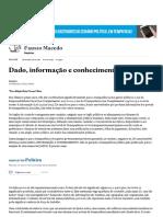 Dado, Informação e Conhecimento - Jornal o Estadao