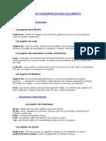 Duree de Conservation Des Documents