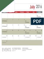 July Conflict Calander