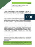 Relaciones Productivas y Conflictivas Entre Lengua Oral y Lengua Escrita