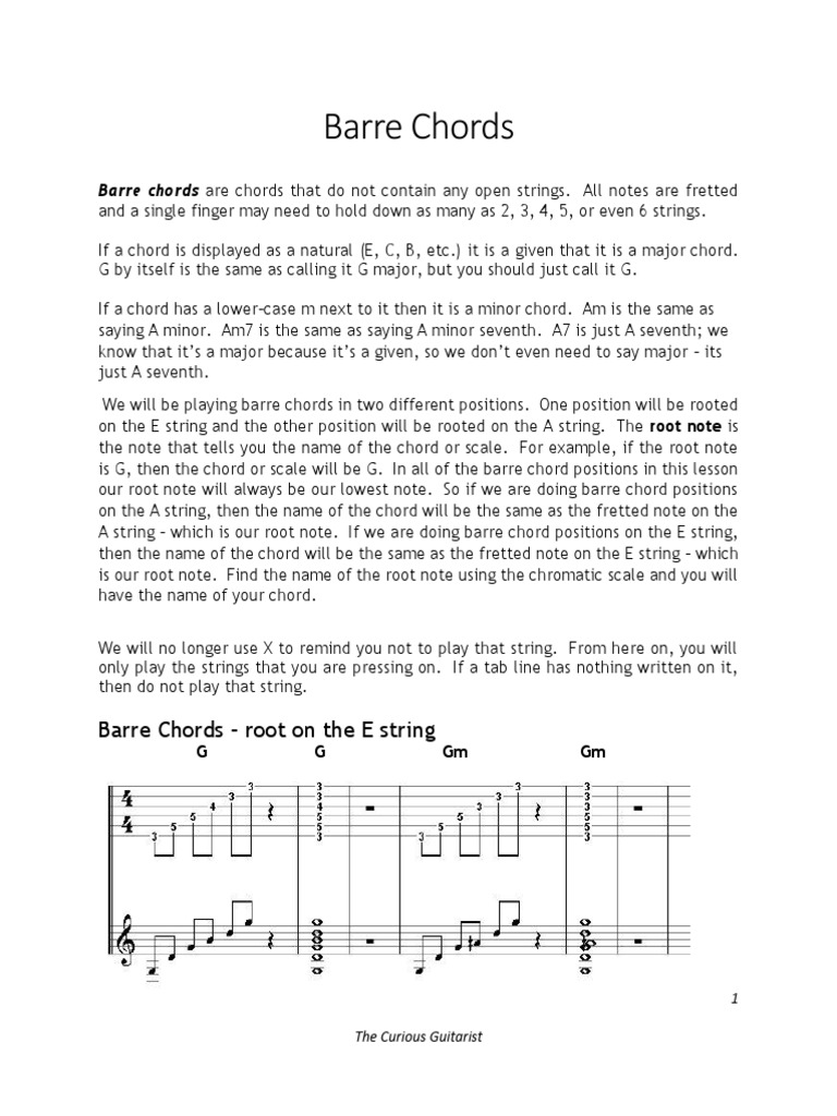 Barre Chords Chord Music Harmony