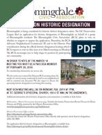 Bloomingdale Civic Association vote on historic designation flyer 2018 02