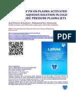 ANALYSIS OF PH ON PLASMA ACTIVATED MEDIUM IN AQUEOUS SOLUTION IN COLD ATMOSPHERIC PRESSURE PLASMA JETS