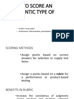 How to Score an Authentic Type of Test