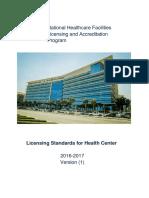 8th August 2017 Health Center Standards