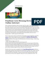 Panduan Cara Menang Bermain Judi Online Internet