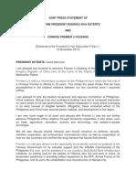 Joint Press Statement of Philippine President Rodrigo Roa Duterte and Chinese Premier Li Keqiang