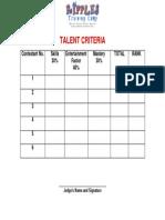 Criteria Talent