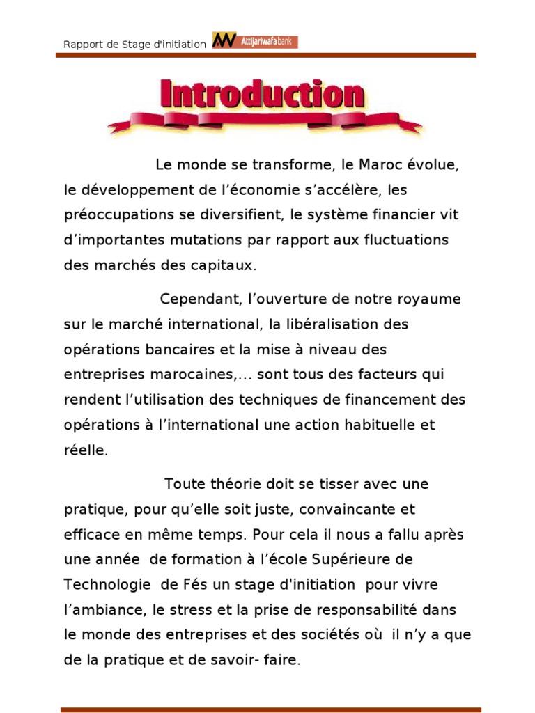Rapport de stage awb for Introduction rapport de stage cuisine