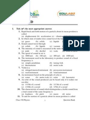 Question Bank of sound pdf | Wavelength | Sound