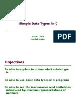 Simple Data types in C