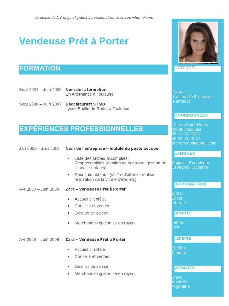 Exemple Cv Original Bleu Turquoise Doc Merchandising