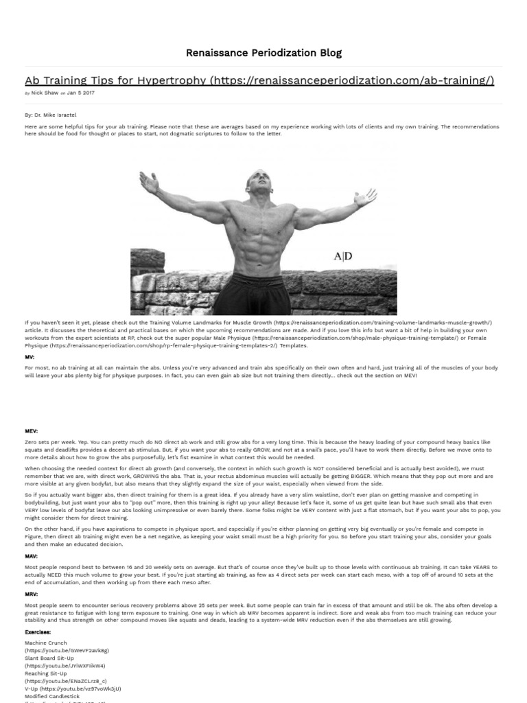 Training Tips for Hypertrophy - Renaissance Periodization