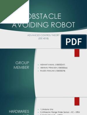 OBSTACLE AVOIDING ROBOT pptx | Arduino | Robot