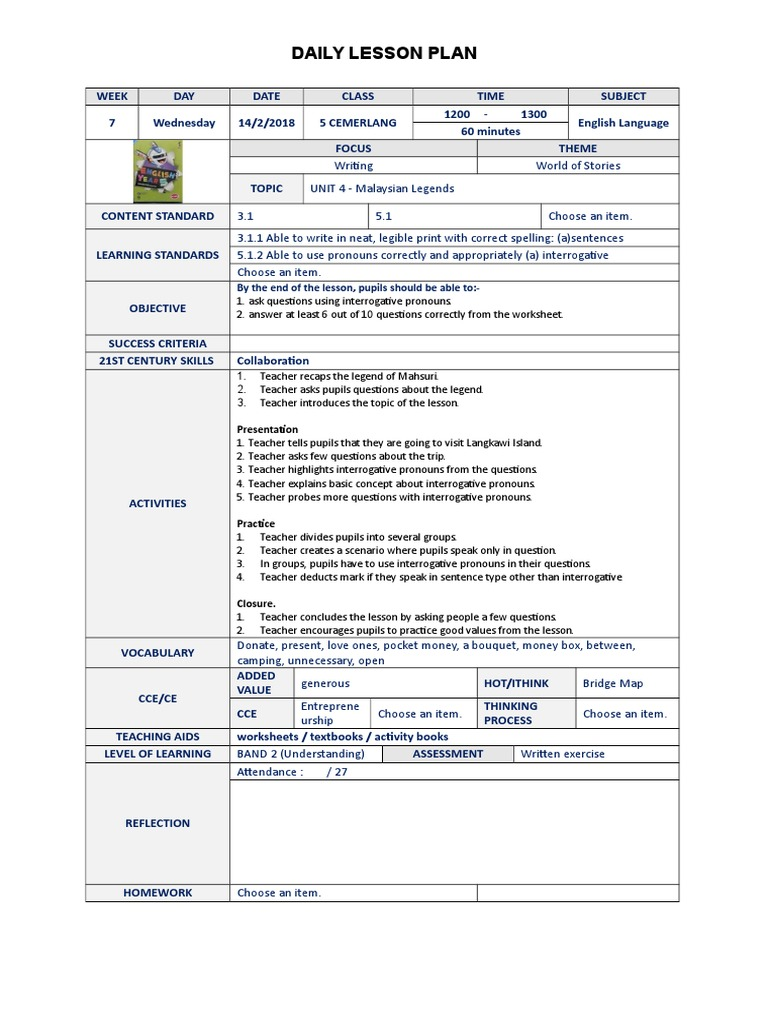 Workbooks willy the wimp worksheets : Wednesday   Lesson Plan   Quality Of Life