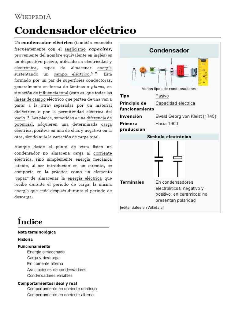 Circuito Wikipedia : Condensador eléctrico wikipedia la enciclopedia libre