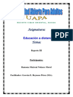 Reporte III Educacion a Distancia