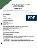Programa Sintético  Análisis Económico ESIME