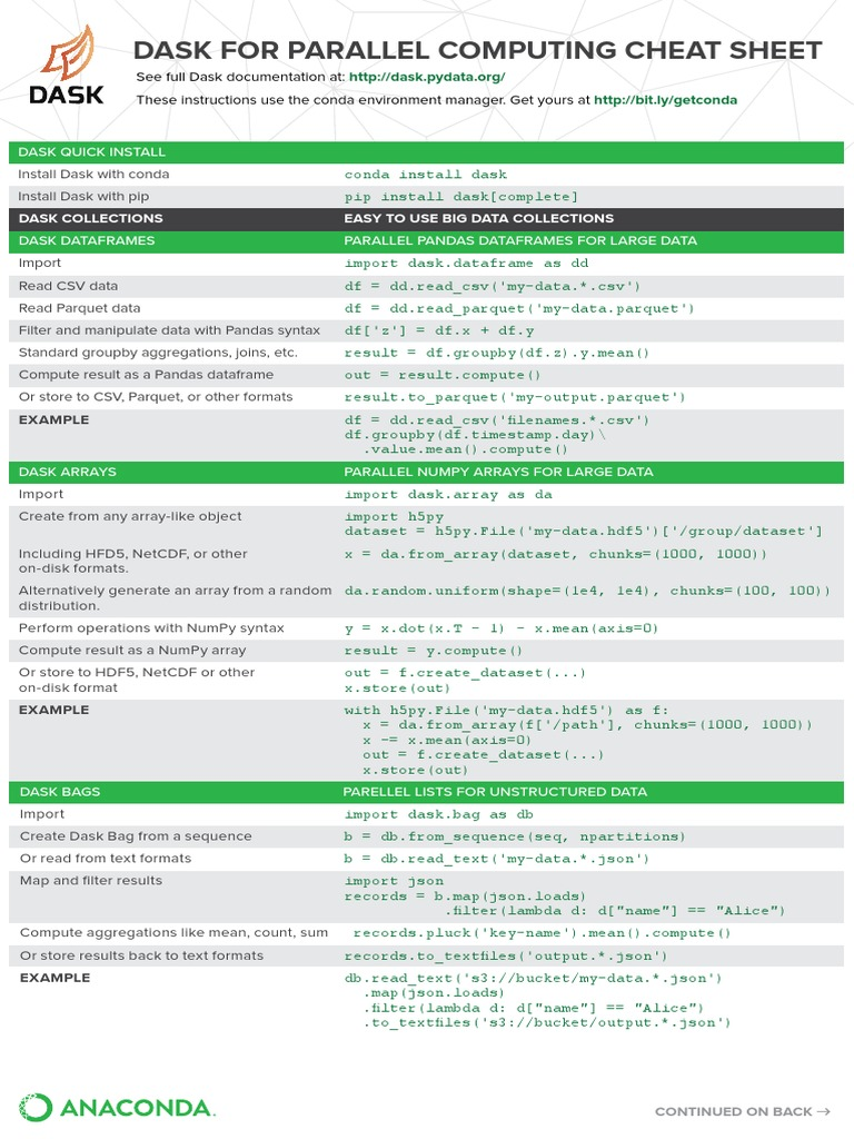 Dask For Parallel Computing Cheat Sheet