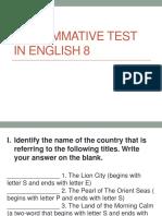 2nd Summative Test in English 8