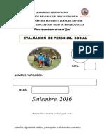 Examen Personal Social 2016 Sexto Grado