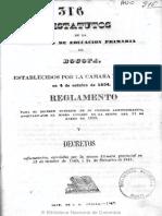 1843 Estatutos Sociedad de Educación Primaria de Bogotá