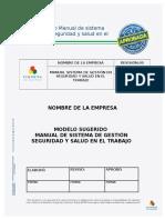 Modelo- Manual Sistema de Gestión de Seguridad y Salud en El Trabajo