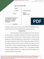 New York Attorney General Lawsuit Against Harvey Weinstein
