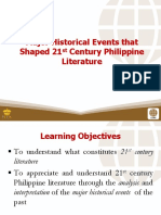 1 Major Historical Events That Shaped 21st Century Philippine Literature