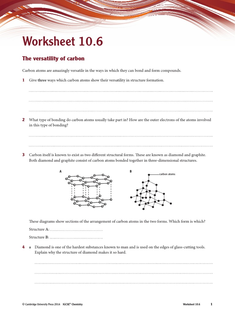 The chemistry of carbon worksheet